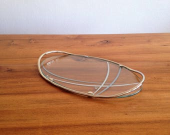 Glass and metal - France - retro tray