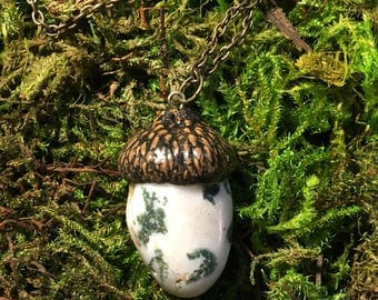 Tree agate acorn necklace