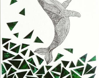 Leaping whale collage illustration. Emerald green geometric shape wall art. One of a kind quirky original unique art work. Green home decor