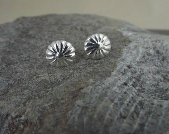 Little flower earrings, fine silver studs, sterling posts
