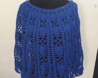 Blue crochet Cape poncho
