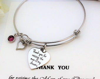 Mother of The GROOM Gift Mother In Law Gift from Bride Thank you for Raising the Man of my Dreams Bracelet Mother of Groom Gift from Bride