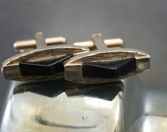 Onyx Cufflinks, Black and Gold Cufflinks, Oval Gold Cufflinks, Mid-Century Cufflinks, Mad Men, Art Deco Cufflinks, Wedding Cufflinks