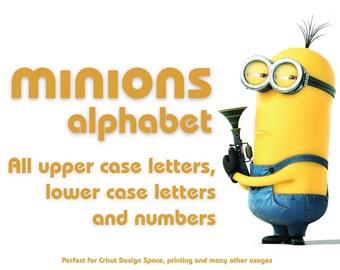 Minions Alphabet, Minions Letters, Minions Font, Minions Birthday, Minions Invitaiton,Minions Party, Minions SVG Cut Files, HD, Vector Files