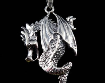 Handcrafted in Thailand Solid 925 Sterling Silver Winged CROUCHING DRAGON/Serpent Pendant Thai Hill Tribe