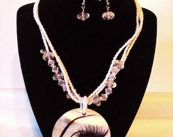 White Eye 2 Pc. Costume Jewelry Set