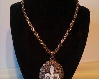 Gold & White Rhinestone Fleur De Lis  2 Pc. Costume Jewelry Set