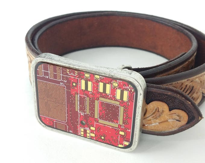 Red and Gold Circuit Board Belt Buckle