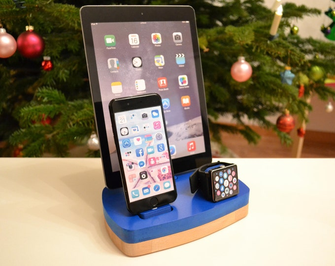 Apple Watch stand iphone ipad watch docking station wood Apple Watch charging station watch station stand IDOQQ tre Blue Wood Station Gift