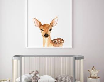 Deer Animal nursery decor, Nursery wall art, PRINTABLE art, animal prints, Nursery safari prints, Giraffe print, Rabbit print, Deer print