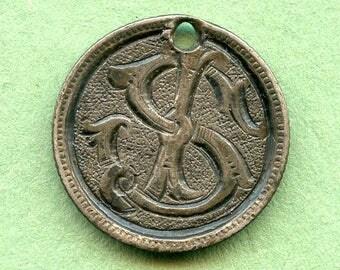 """Love Token  Canada Silver Dime  """"SJ or JS"""" Unique Antique Coin <>#DO-41"""