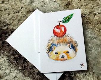 Hedgehog // watercolor card // blank card // print
