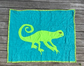 Lizard cut out flannel quilt with trim for baby or child, warm cat blanket, gender neutral baby gift, black and white