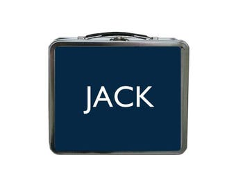 Navy Blue Lunch Box, Personalized Lunch Box, METAL Lunch Box, Monogram Lunch Box, Lunch Box for Boys, TIN Lunch Box, Retro Lunch Box Kids