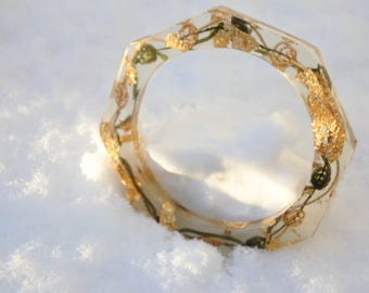Bracelets with gold leaf-8 square design-resin-handmade
