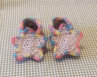 Handmade Baby Gift    Crochet Baby Booties   Rainbow Star Booties   Handmade   Baby Shower Gift   New Baby   Baby Boy   Baby Girl