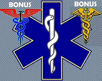 Embroidery EMS paramedic emergency medical service asclepius caduceus signs
