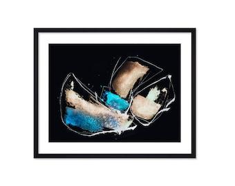Boat Painting Print - Black Art Print - Abstract Art - Watercolor Painting - Illustration - Black White
