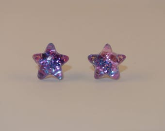Pink and Blue Star Resin Statement Earrings