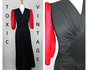 VINTAGE 1970's Black and Red Ruched Body MAXI DRESS Uk Size 10-12 Disco, Retro, Chic, Elegant