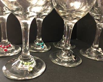 Wine Glass Charm Set - Set of 6 Glass Charms - Gems