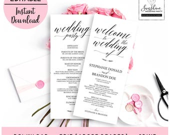 Welcome to Wedding, Wedding Party, Script Style Long White Wedding Program Template, Editable and Printable Wedding Program digital download