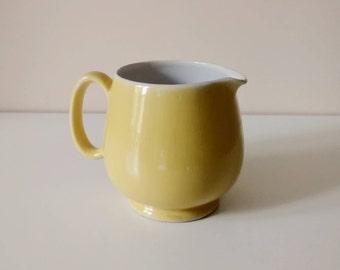 Vintage milk pot - pastel yellow faience, ceramic