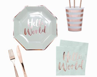 Hello World Baby Shower Party Kit, Party in a BOX,Baby Shower Party Kit, Baby Shower Tableware, Baby Shower Theme,Gender Neutral Baby Shower