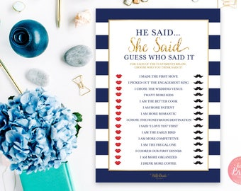 He Said She Said Printable Bridal Shower Game - Navy and Gold - Bridal Shower Game - Instant Download - NB001