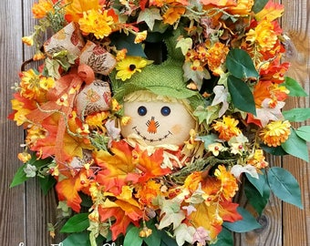 Fall Scarecrow Wreath - Scarecrow Wreath Fall Door Wreath  -Fall Scarecrow Door Hanger- Fall Wreath- Fall Wreath For Door -Fall Door Wreath