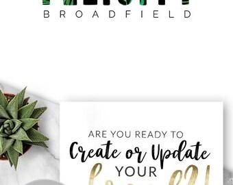 424 - Pre-made Logo, Logo Design, Branding, Blog, Business, Modern, Shop, Brand, Header, Blogger, Palms, Ferns, Tropical