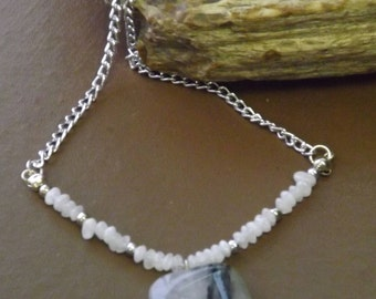 Tourmalinated Quartz Pendant and Moonstone Necklace #182072
