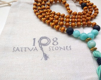 Lava, Amazonite, & Wood Mala