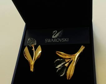A Tiny, Bunch of  (Two) Vintage Swarovski Crystal and Gold Plated Lilies and Tulip. Swan Signed. Boxed. Crystal Wedding Gift. (15 years)
