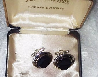 "Richmond Hall Fine Men's Jewelry Cufflinks - Vintage Mid Century - Black Stone - 1"" in Diameter"