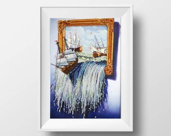 sea needlework kit DIY gift seascape embroidery needlepoint beading ship embroidery gobelin modern needlework hurricane needlework ocean