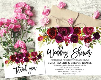 Wedding Shower Invitation, Fall Floral Bridal Shower Card, Couples Shower Invite, Editable Card Printable Instant Download Wedding Shower R2