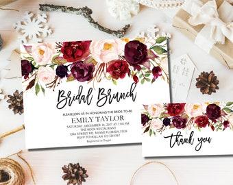 Bridal Brunch Invitation, Watercolor bridal invite, Floral Bridal Shower Card, Instant Digital Download File, Bridal Brunch Boho Floral, #02
