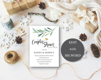 Printable Couples Shower Invitation Template - Wedding Shower Invitation - Couples shower invitation, Couples shower, Download EDIT MS Word