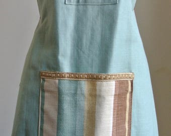 Home Made Blue and Fawn Cotton Apron