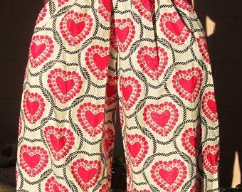Heart Print Jumpsuit, African Print Jumpsuit, Pink heart Jumpsuit, African print Romper, Spaghetti strap jumpsuit, romper, Jeannie jumpsuit