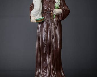 "14"" Antique Saint Anthony with Child Jesus Porcelain Statue Christ Figure"