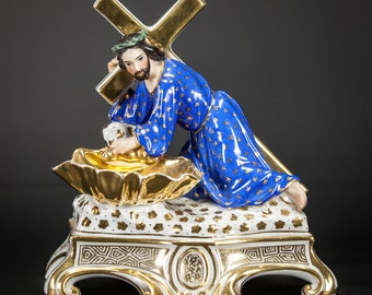 Stunning Antique Jesus Carrying the Cross Vieux Old Paris Porcelain Statue Holy Water Font