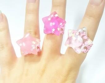 Kawaii rings with semi-transparent stars on pink band, fairy kei, pastel goth ring, cute ring, star ring, sweet lolita, pink ring