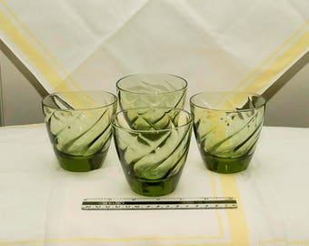 Mid-Century Hazel Atlas Avocado Green Low ball Glasses, Barware, Continental Can Company