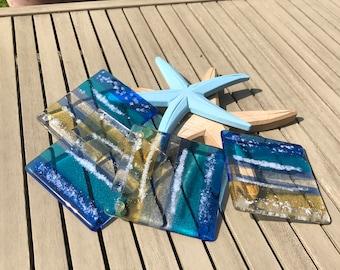 Fused glass beach coasters (4)