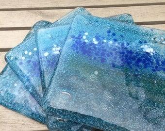 Fused glass sea coasters (4)