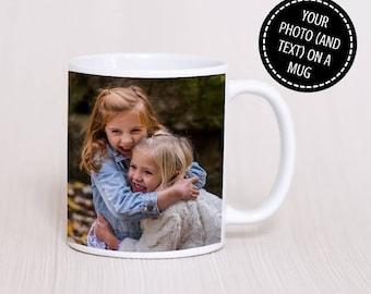 Photo Mug - Llun ar Mwg - Personalised Photo Mug - Custom Photo Mug - Photo - Text - Gift - Gift for him - Gift for her