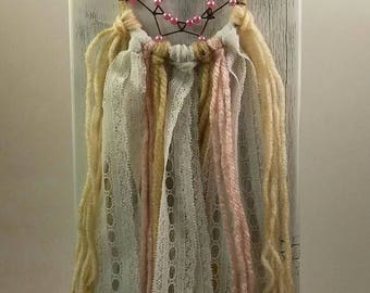 Boho, Pink, Small Dream Catcher, Lace dream catcher, Ribbon, Beaded Webbing, Great Gift Idea, Country Charm, One of a Kind, Native Artist