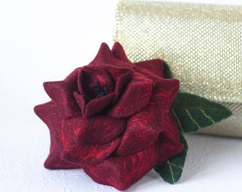 Mother's Day Gift Idea for Mom Gifts Burgundy Rose Brooch Dark Red Roses Unique Jewelry Gift Marsala Boho Gift for Wife Wine Red Jewelry